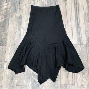 Larry Levine Black Asymmetrical Midi Skirt. Size 8